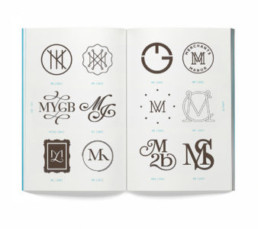 Logo design ideas on a double page booklet