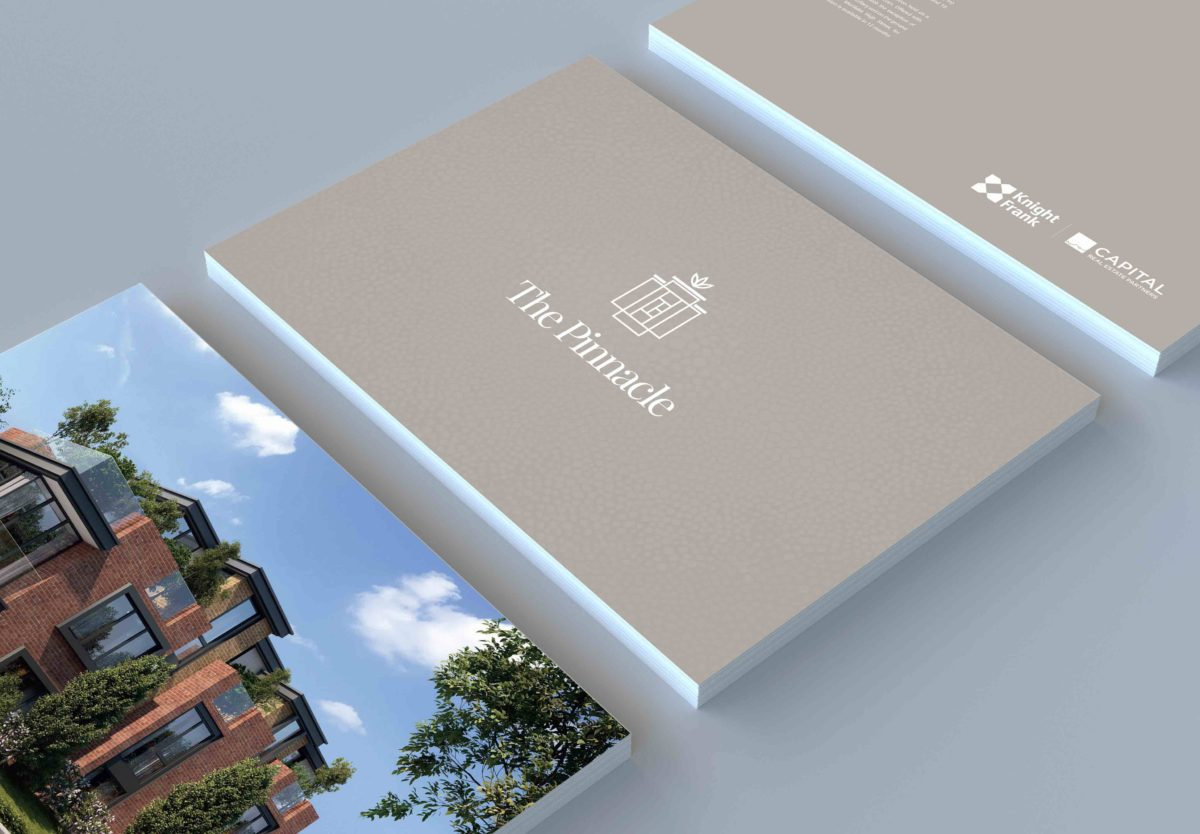 Different pages of the pinnacle real estate development marketing brochure including logo and CGI image