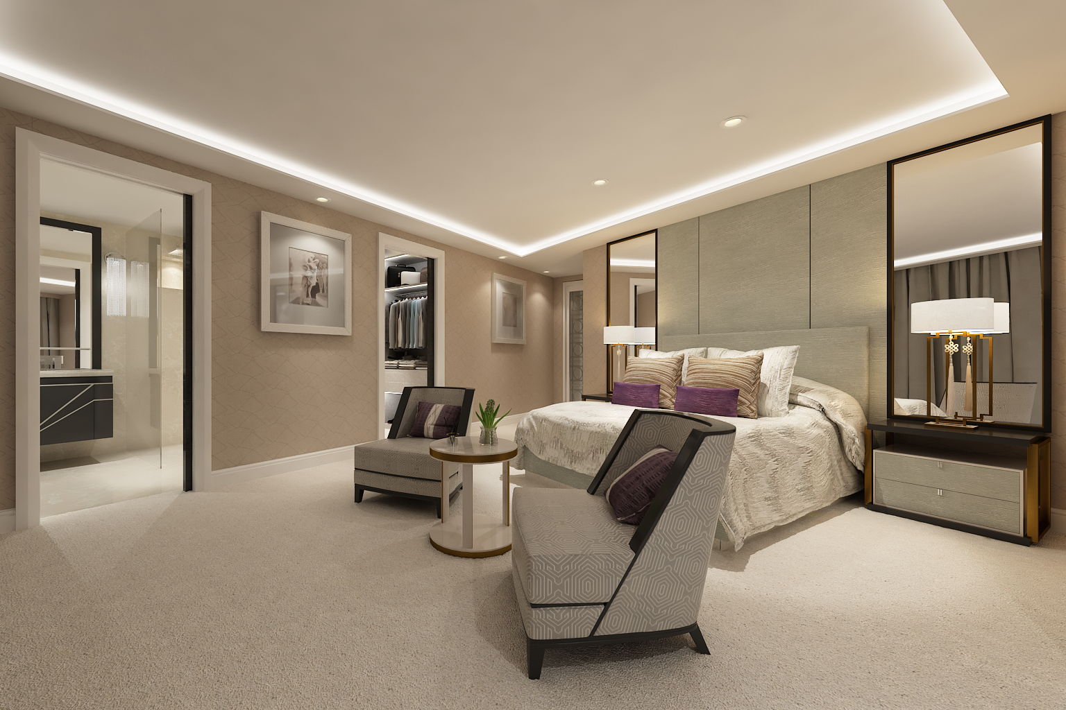 Bedroom CGI image showing a potential colour scheme and layout
