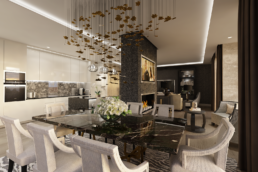 CGI image showing the proposed development of a kitchen, living and dining room