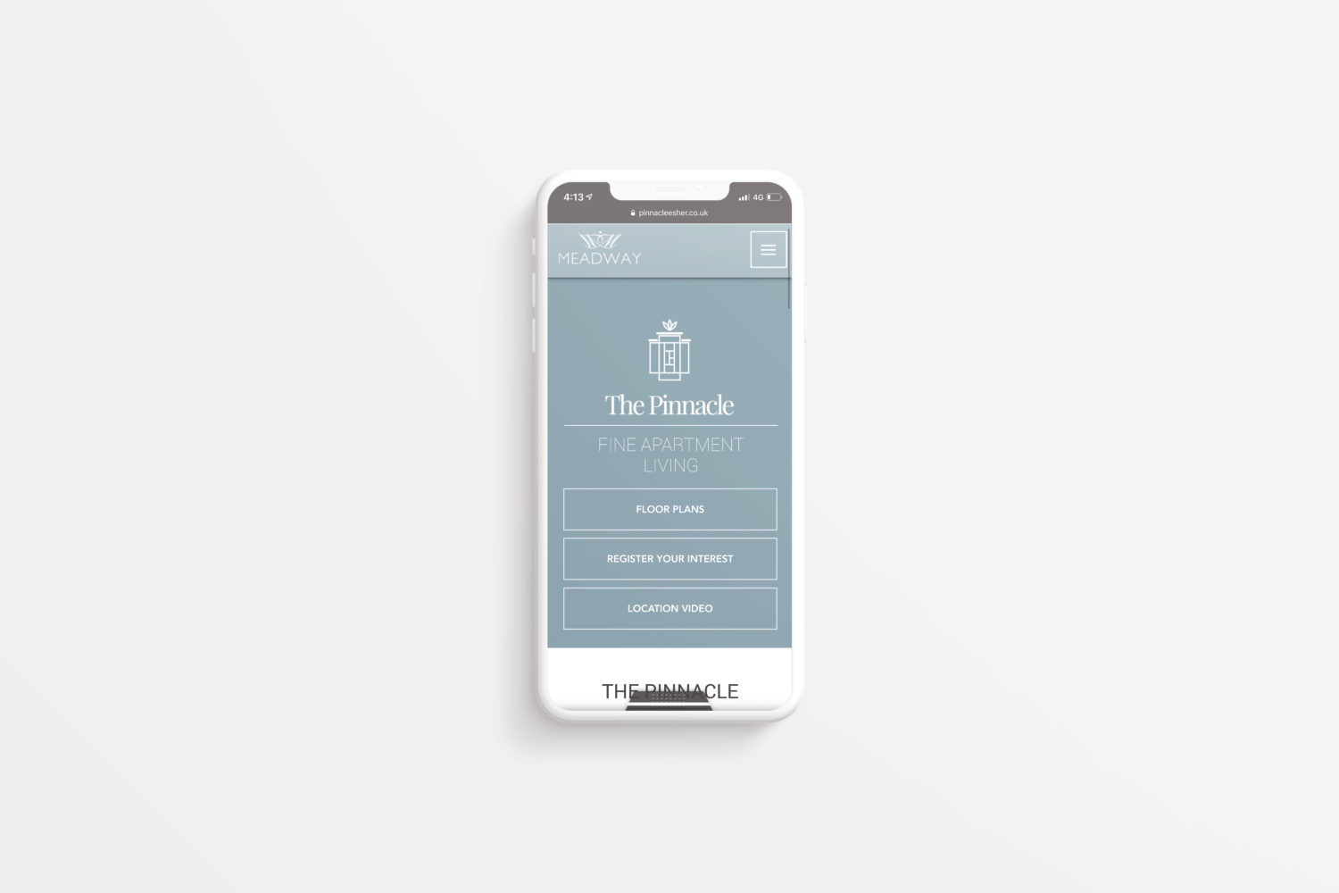 Screenshot of the Pinnacle website on a mobile phone device