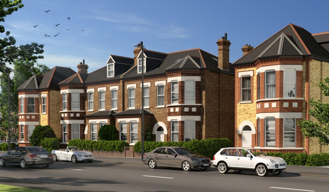External view of the Croxted Road residential development showing a detached and semi-detached property