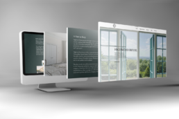 computer screen showing highwood house website and 3 screenshots of the website popping out of the screen against a grey background
