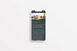 CGI image of the Highwood House website on a mobile phone