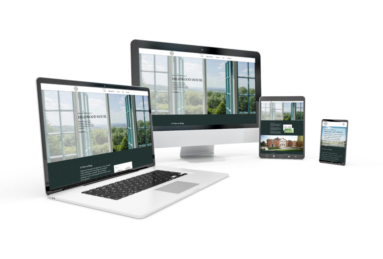 Image of the Highwood House property website on 4 devices; a laptop, desktop, tablet and phone