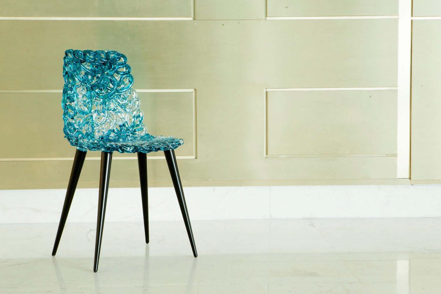 Photograph of a designer chair in the Kuwait Cultural Centre