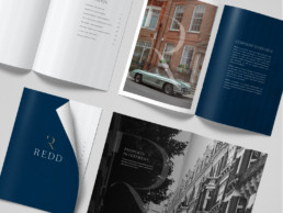 Images of the inside pages of the Redd Real Estate brochure