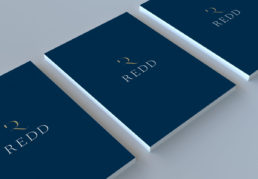 Redd Real Estate Brochure Cover in blue with the Redd logo