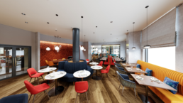 CGI image showing the proposed design for the Sofitel Hotel restaurant in Brussels