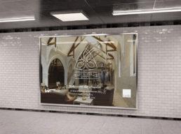 St Luke's Chapel advert on a billboard in an underground station
