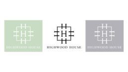 Highwood house logo in black on a white background, white on a grey background and white on a green background