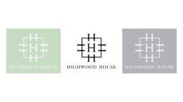 Highwood house logo in black on a white background, white on a grey background and white on a green background