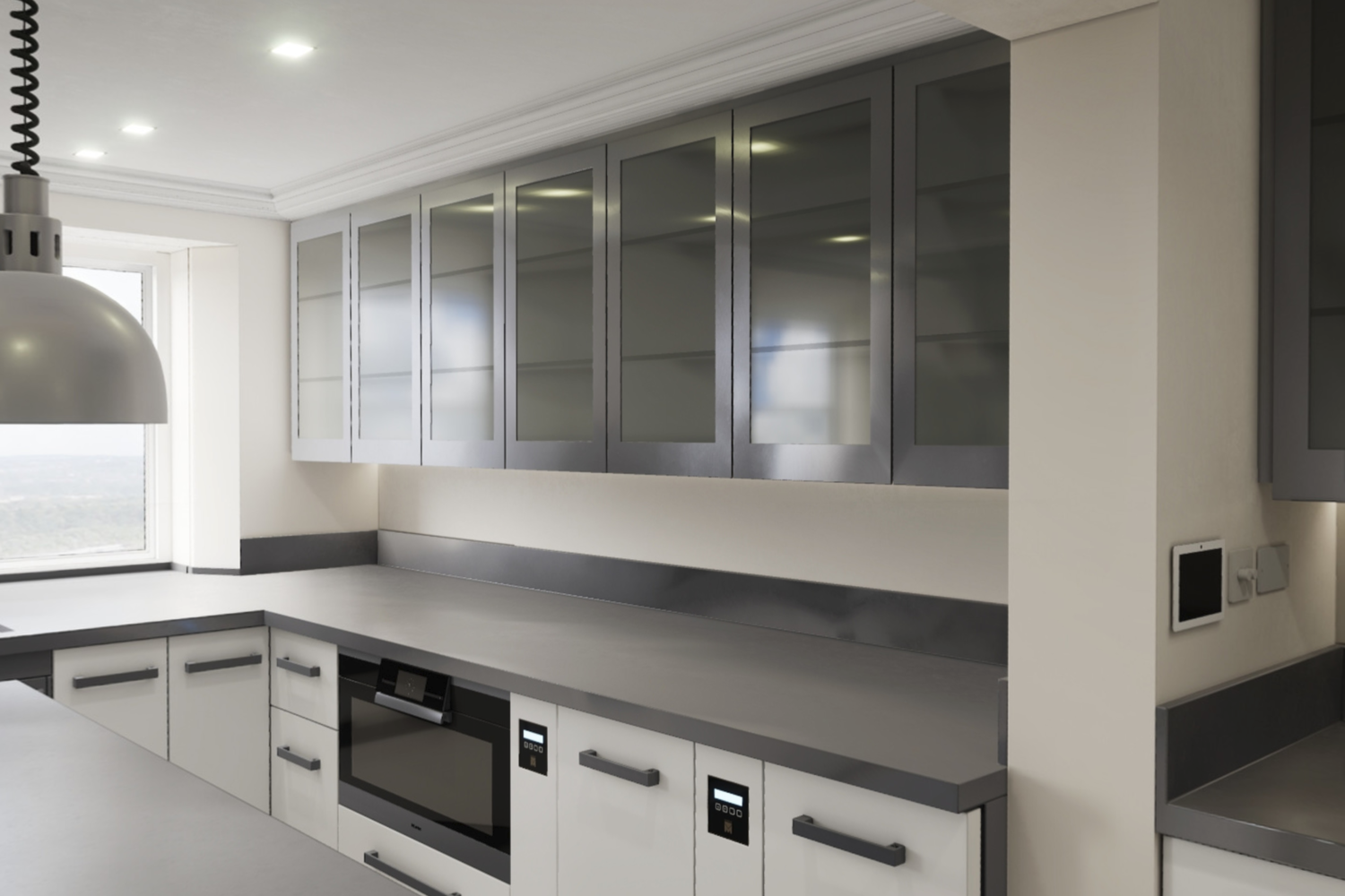 CGI image of Tregunter Kitchen showing the wall cabinet doors in glass and dark grey frame