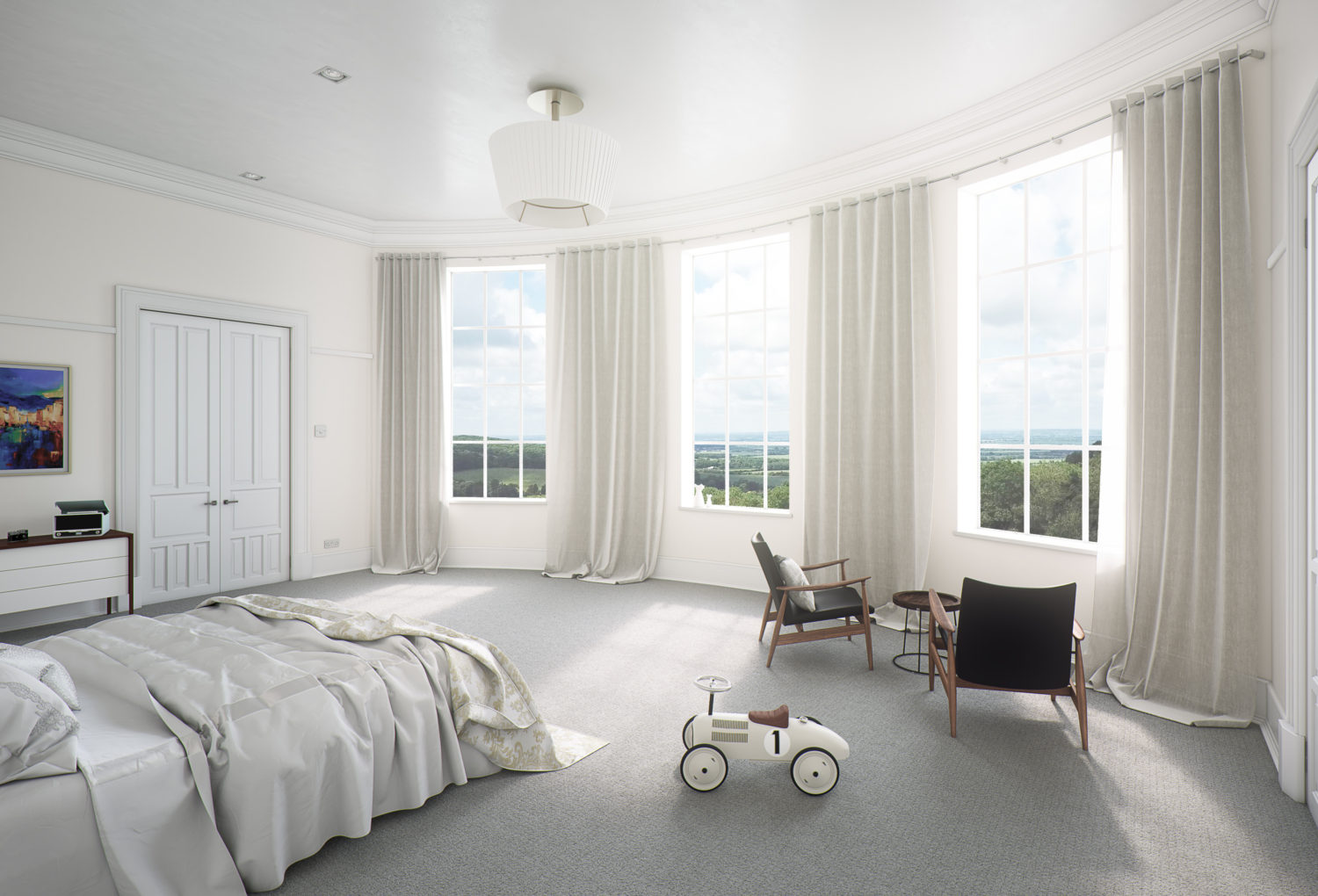 CGI image of a luxury residential bedroom with views across a valley