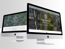 CGI image of 2 desktop computers, one showing the pinnacle website homepage and one showing the highwood house website