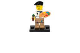 Lego character artist with paint palette and brush