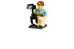 Lego character with camera and tripod
