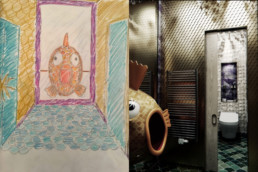Handdrawn design sketch and final CGI image