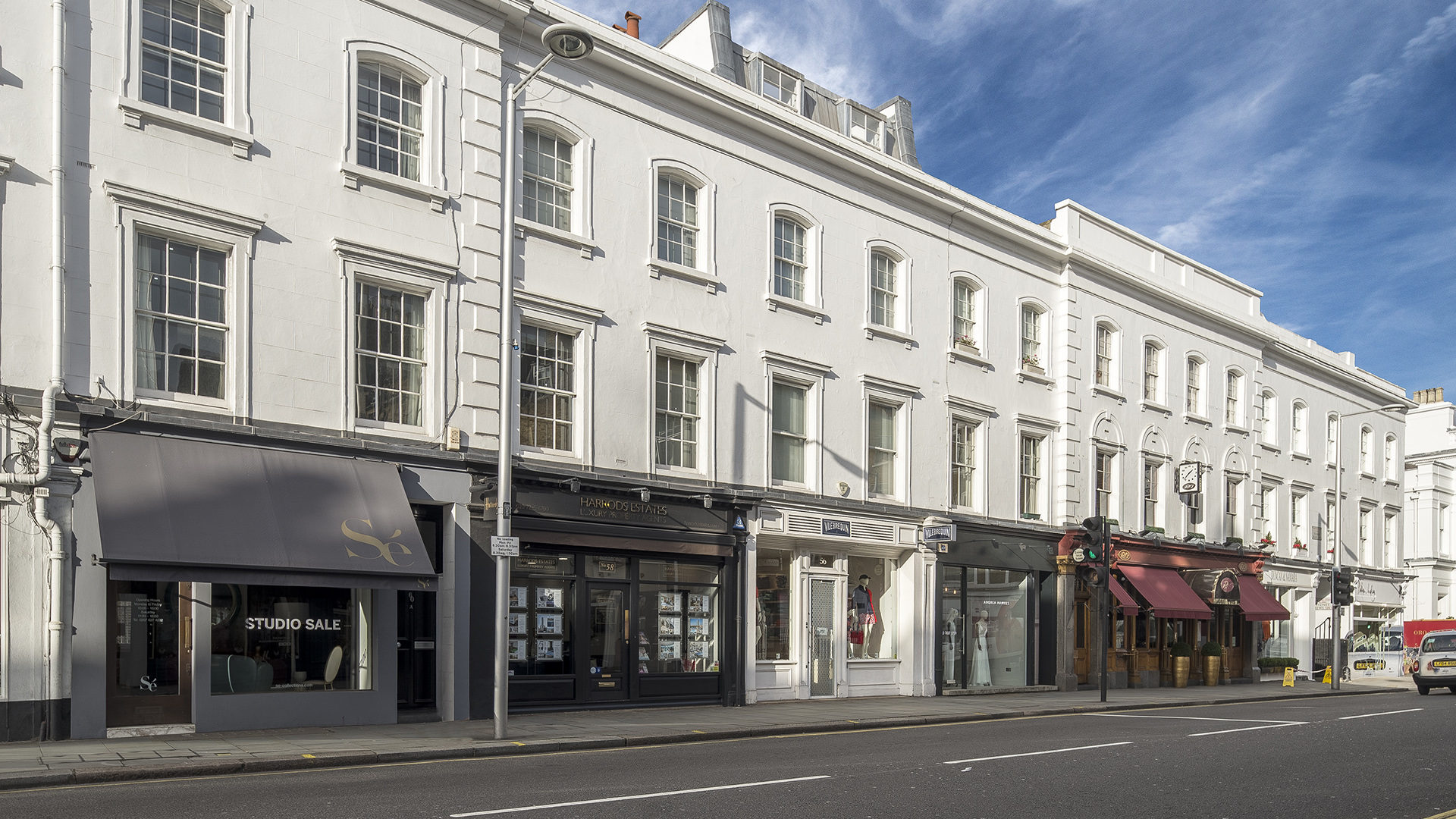 Fulham Road London photo of multiple retail store fronts