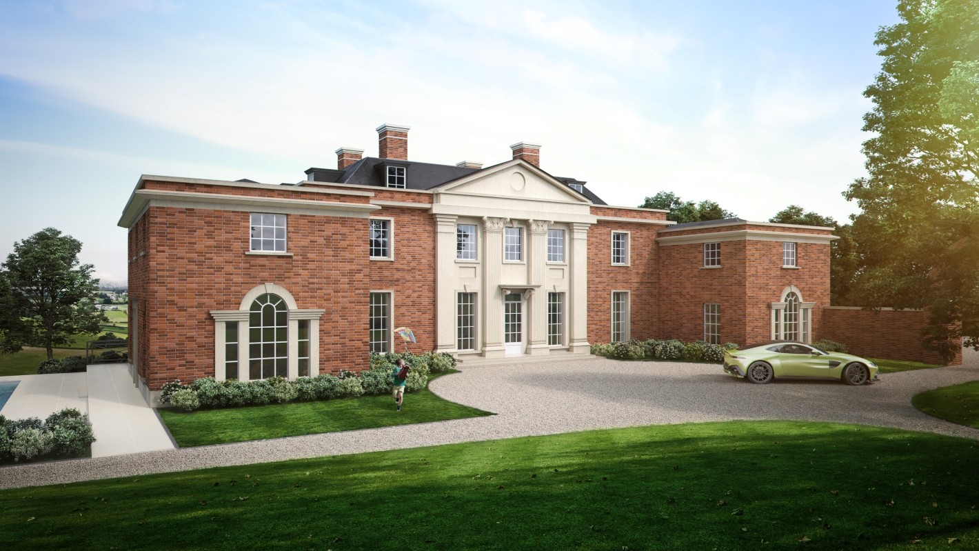 Highwood House Front of House CGI, CGI Aston Martin on driveway