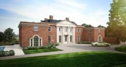 Highwood House Front of House CGI, CGI Aston Martin on driveway