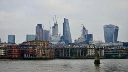 London skyscraper skyline leadenhall and walkie talkie buildings colour