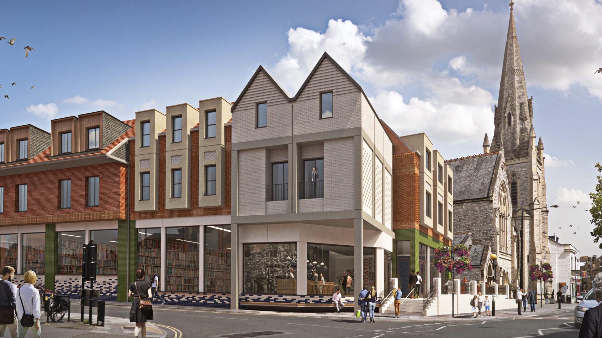 CGI animated photo of a proposed development in Salisbury