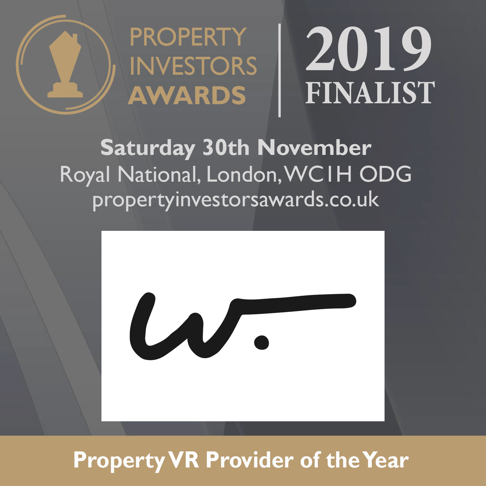 Property Investors Awards Finalists Badge, Property VR Provider 2019