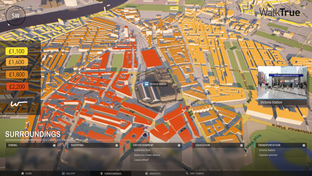 3D map of Central London's retail district showing rental cost as a heatmap.